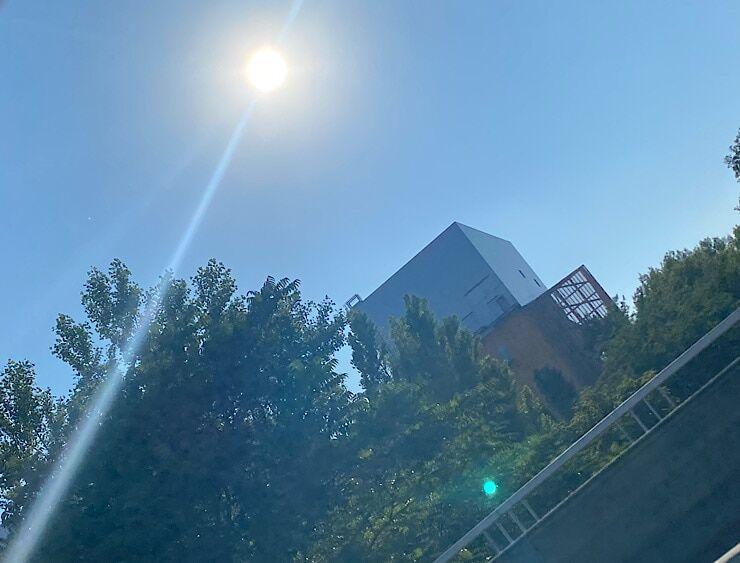 Foto aus dem Auto gegen die Sonne fotografiert 2
